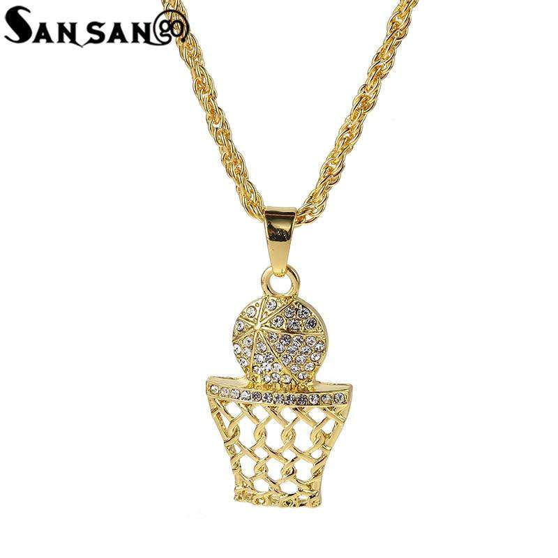New Bling Crystal Basketball Slam Dunk Pendant Necklace Woman Men Twist Chain Hip Hop Christian Necklace Jewelry Gift
