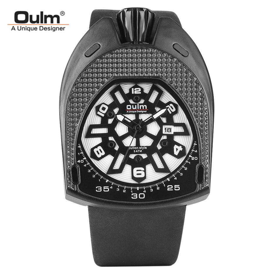 OULM Luxury Brand Oval Case Quartz Watch Men Unique Design Dial Man Wristwatches 30M Waterproof Leather Band Cool Clock Gifts, , www.suppashoppa.co.uk