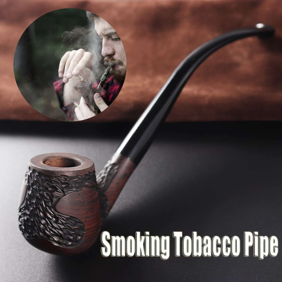 Long Handle Ebony Smoking Pipe