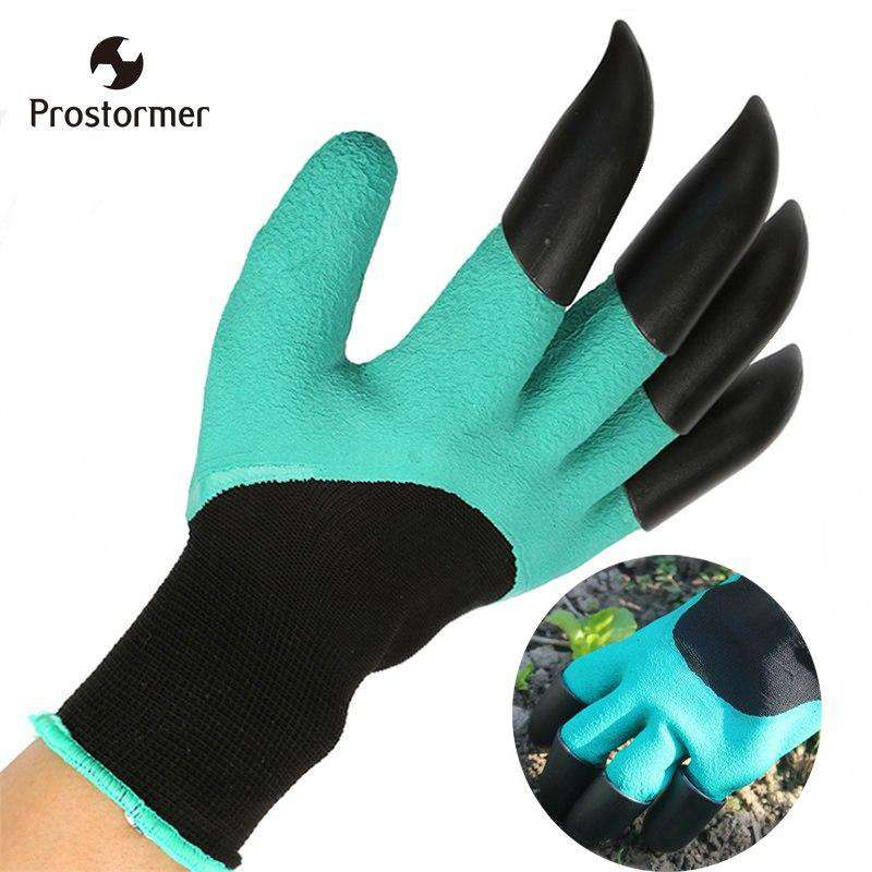 Green Garden Digging Gloves with 4 ABS