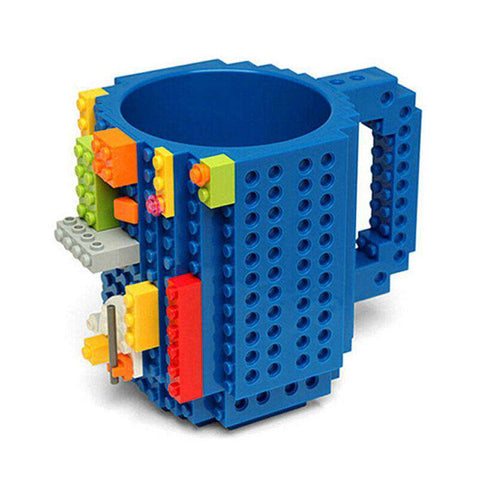 1 Piece Build a Brick Mug Building Blocks Coffee Cups Frozen Coffee Mug DIY Block Puzzle Lego Mug 12oz 350 ml Christmas Gift, Blue, www.suppashoppa.co.uk