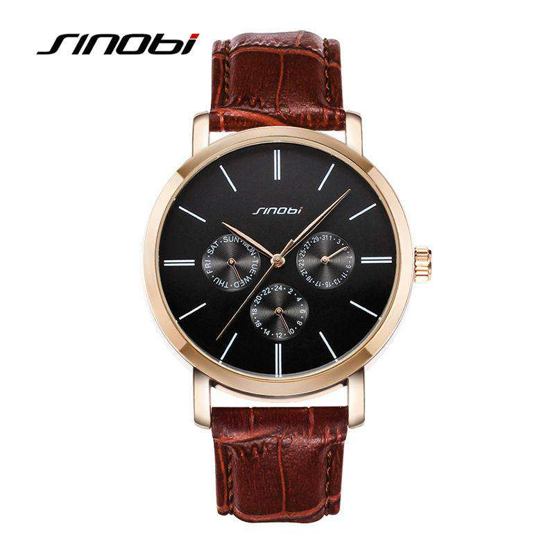 SINOBI Casual Wrist Watches For Mens Top Brands Luxury Leather Strap Quartz Watch Man Dress Watch Waterproof Males Clocks, , www.suppashoppa.co.uk