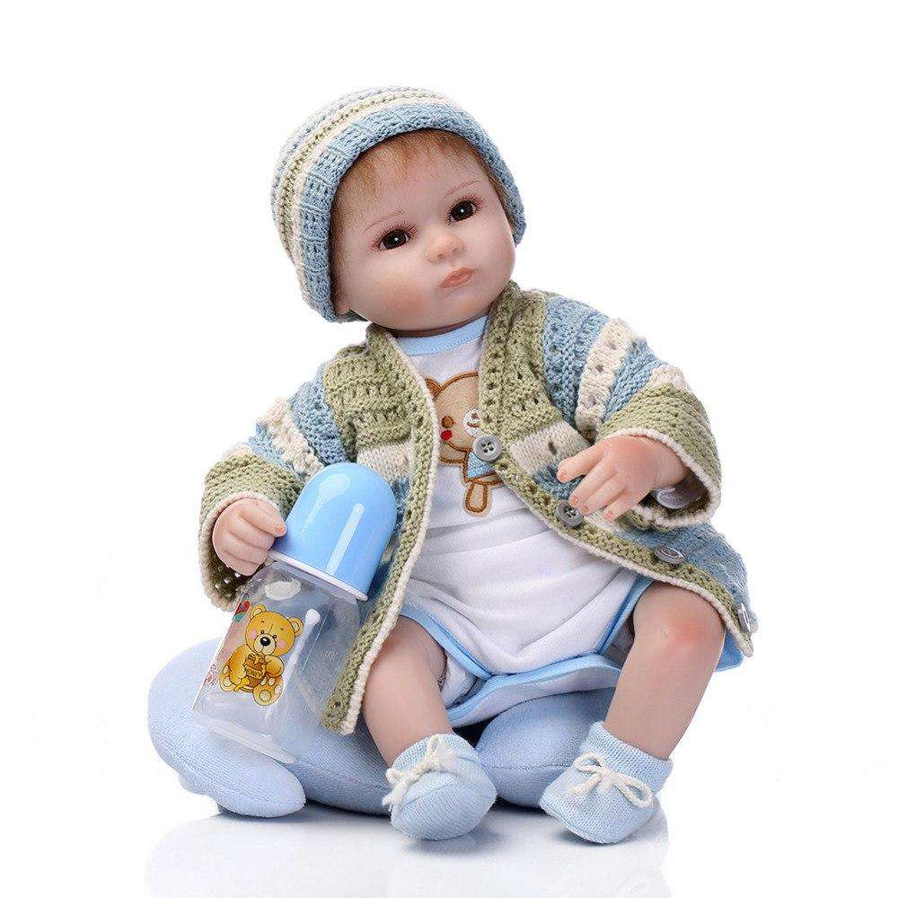 Silicone reborn babies for girl lifelike 40cm reborn baby doll with new knitting clothes boneca brinquedos toys for children, , www.suppashoppa.co.uk