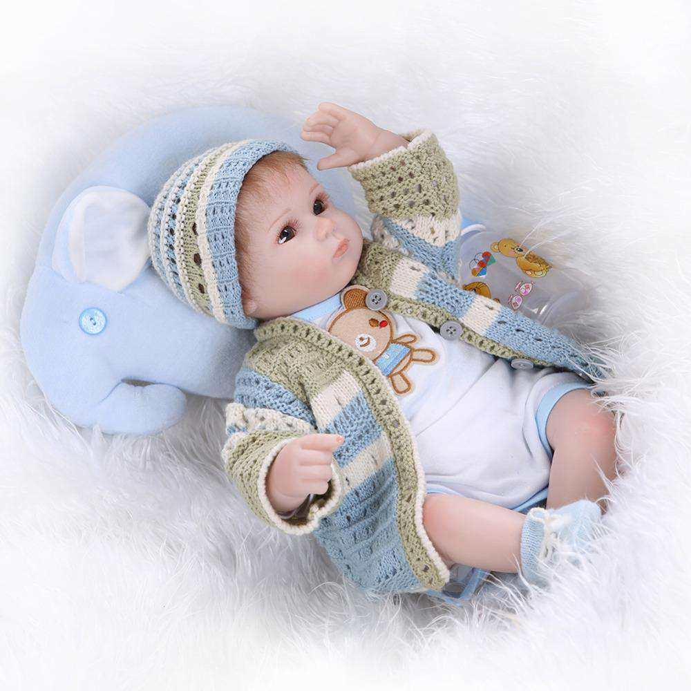 Silicone reborn babies for girl lifelike 40cm reborn baby doll with new knitting clothes boneca brinquedos toys for children, Default title 0, www.suppashoppa.co.uk