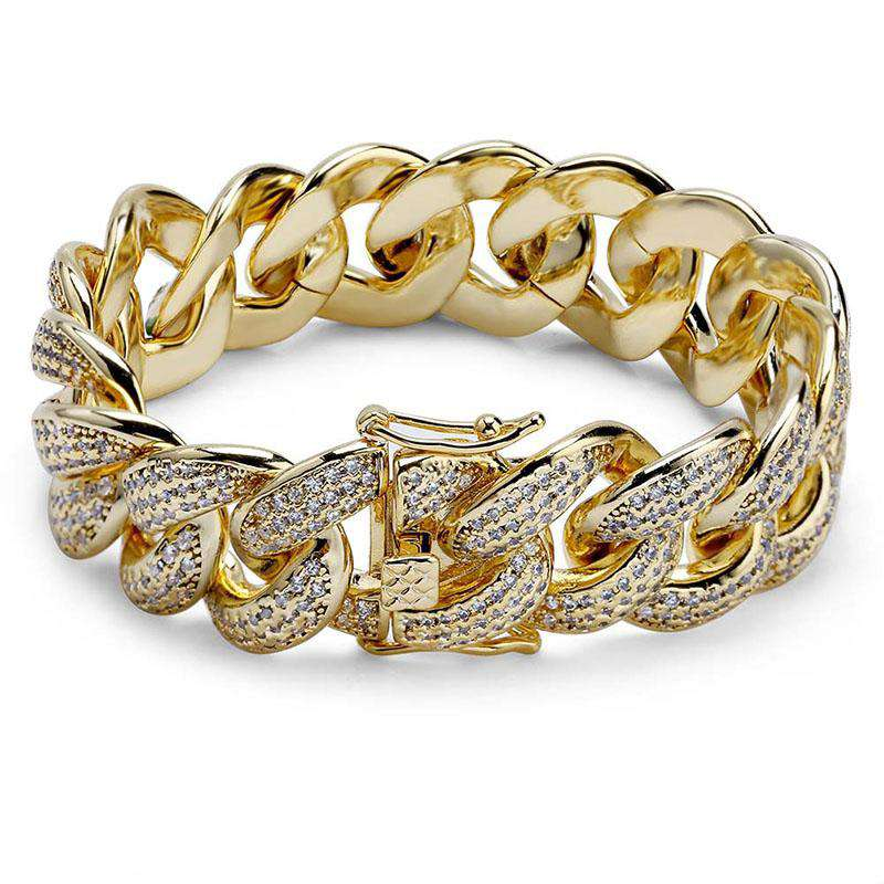 Silver/Gold Color AAA Zircon Round Miami Cuban Chain Bracelet Men Hip Hop Bling Iced Out Rhinestones CZ Rapper Bracelets Jewelry