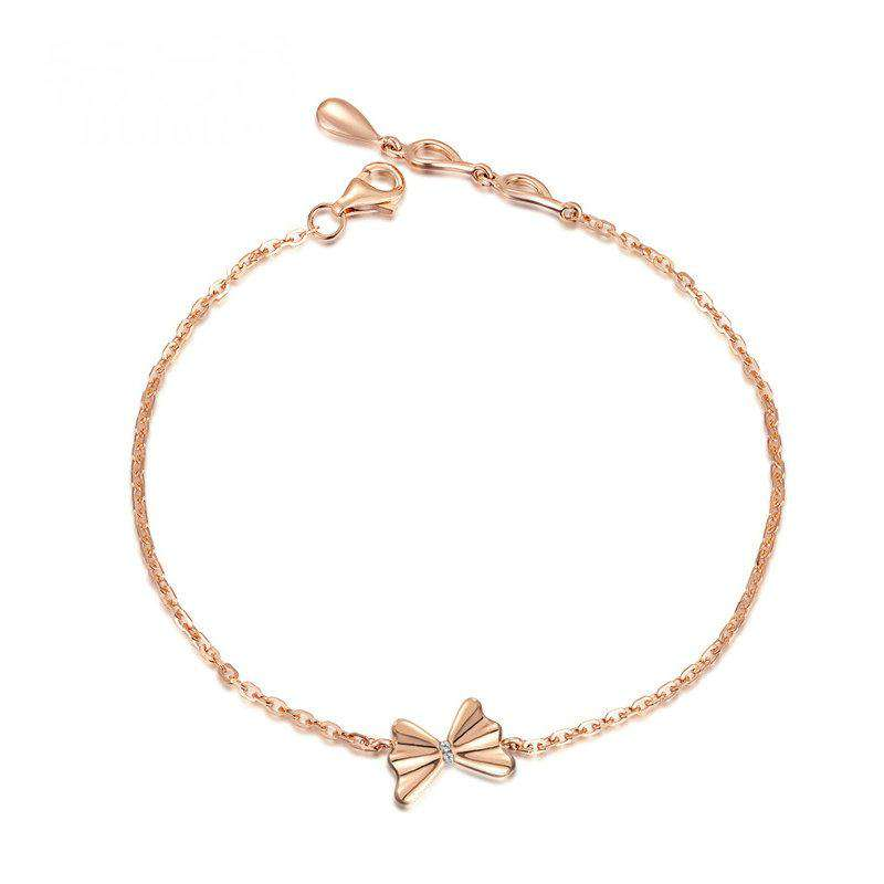 Solid 18K Rose Gold Diamond Bracelet 0.03ct Butterfly Charm 18cm Handmade Fine Jewelry for Women  Customized