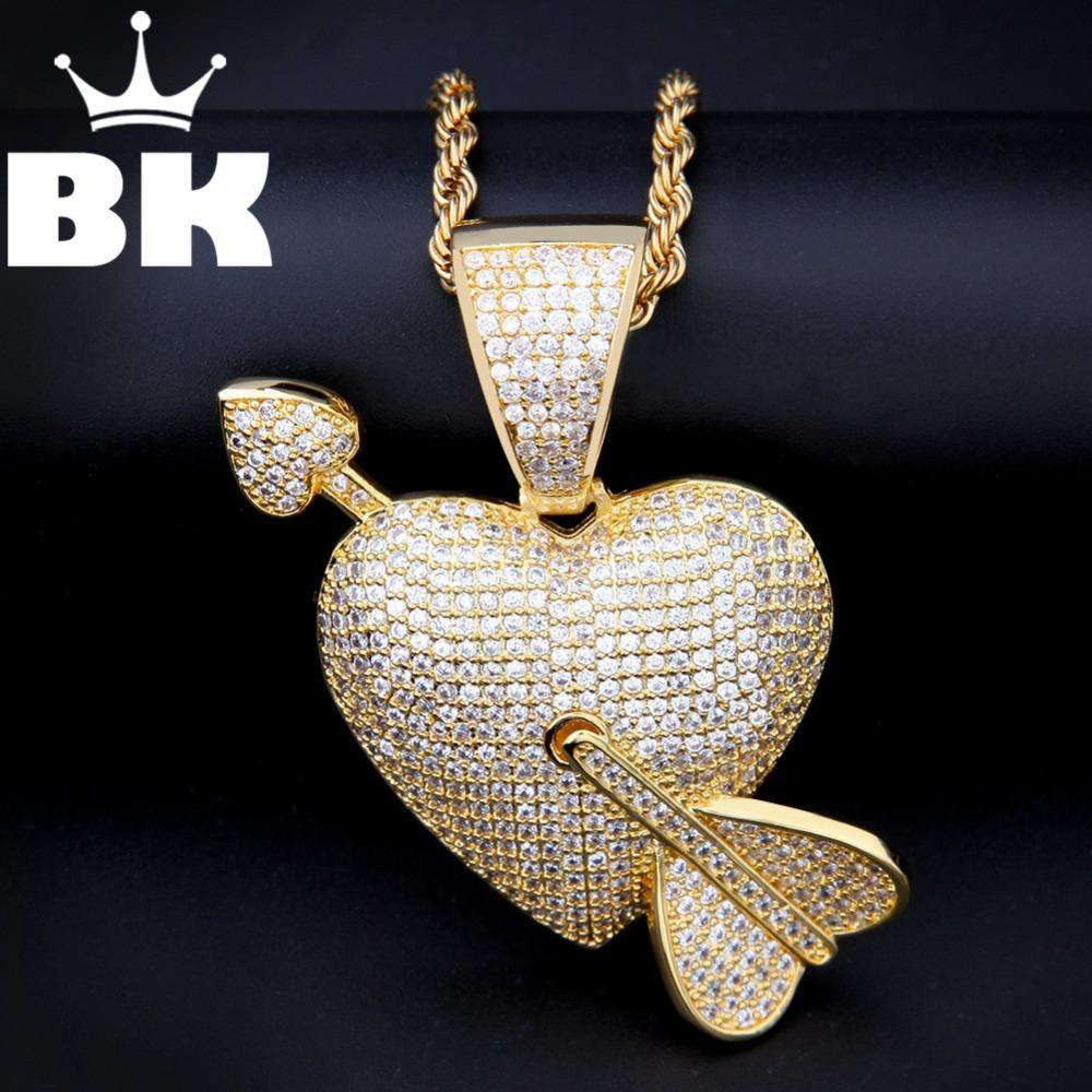 THE BLING KING Custom An Arrow Through the Heart Necklace Hip Hop Full Iced Out Cubic Zirconia gold sliver CZ Stone