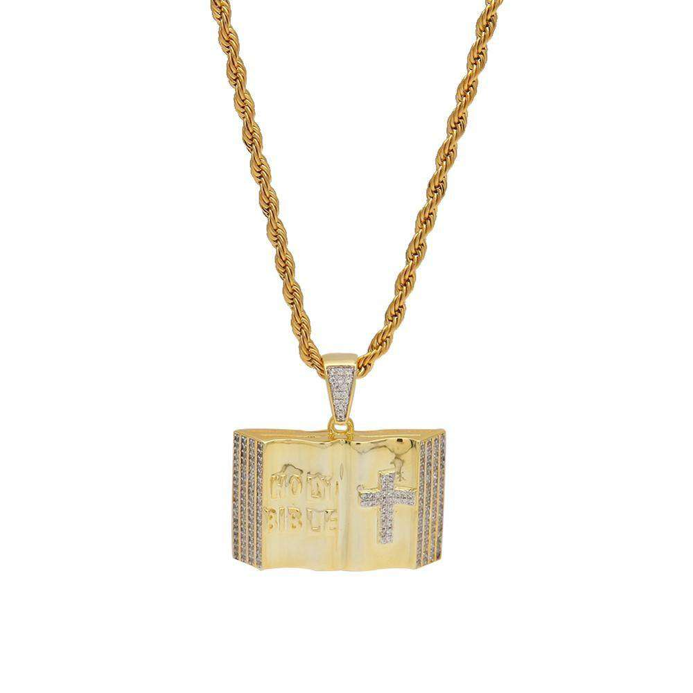 THE BLING KING Custom Bible Necklace Hip Hop Full Iced Out Cubic Zirconia gold sliver CZ Stone