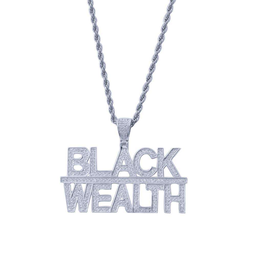 THE BLING KING Custom Black Wealth Necklace Hip Hop Full Iced Out Cubic Zirconia gold sliver CZ Stone