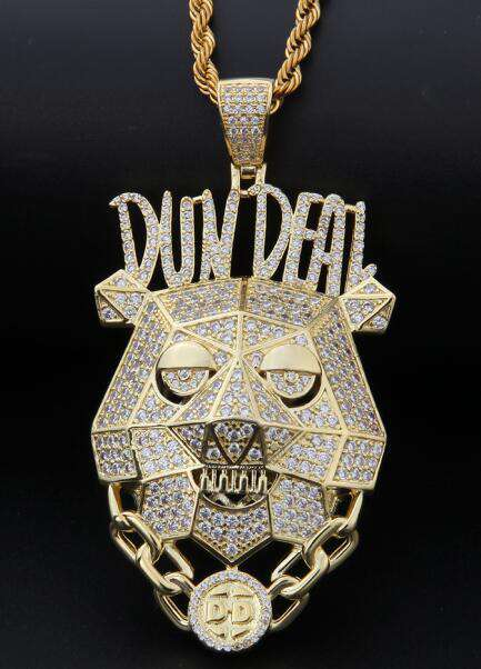 THE BLING KING Custom Dun Deal Necklace Hip Hop Full Iced Out Cubic Zirconia gold sliver CZ Stone