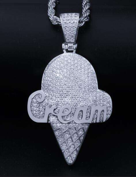 THE BLING KING Custom Ice-Cream Necklace Hip Hop Full Iced Out Cubic Zirconia gold sliver CZ Stone