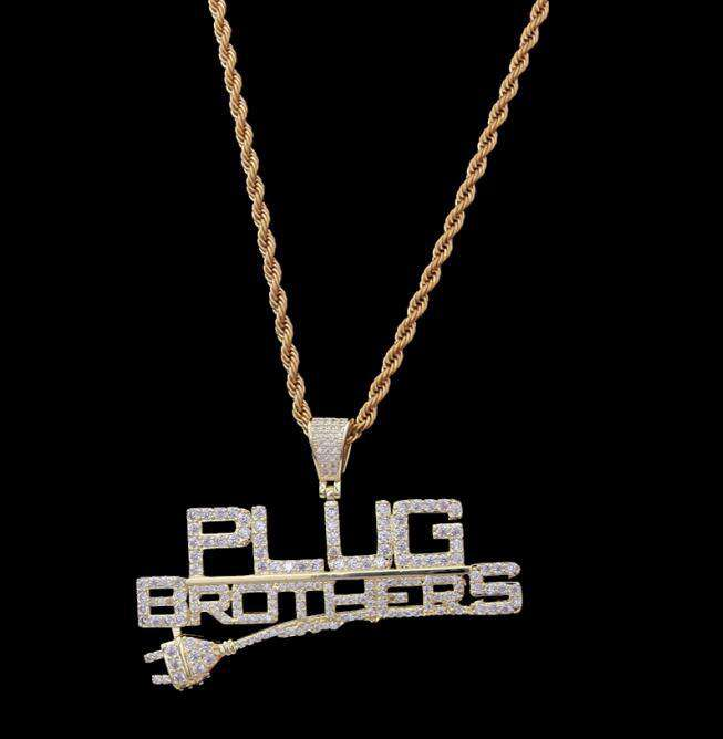 THE BLING KING Custom Plug Brothers Necklace Hip Hop Full Iced Out Cubic Zirconia gold sliver CZ Stone