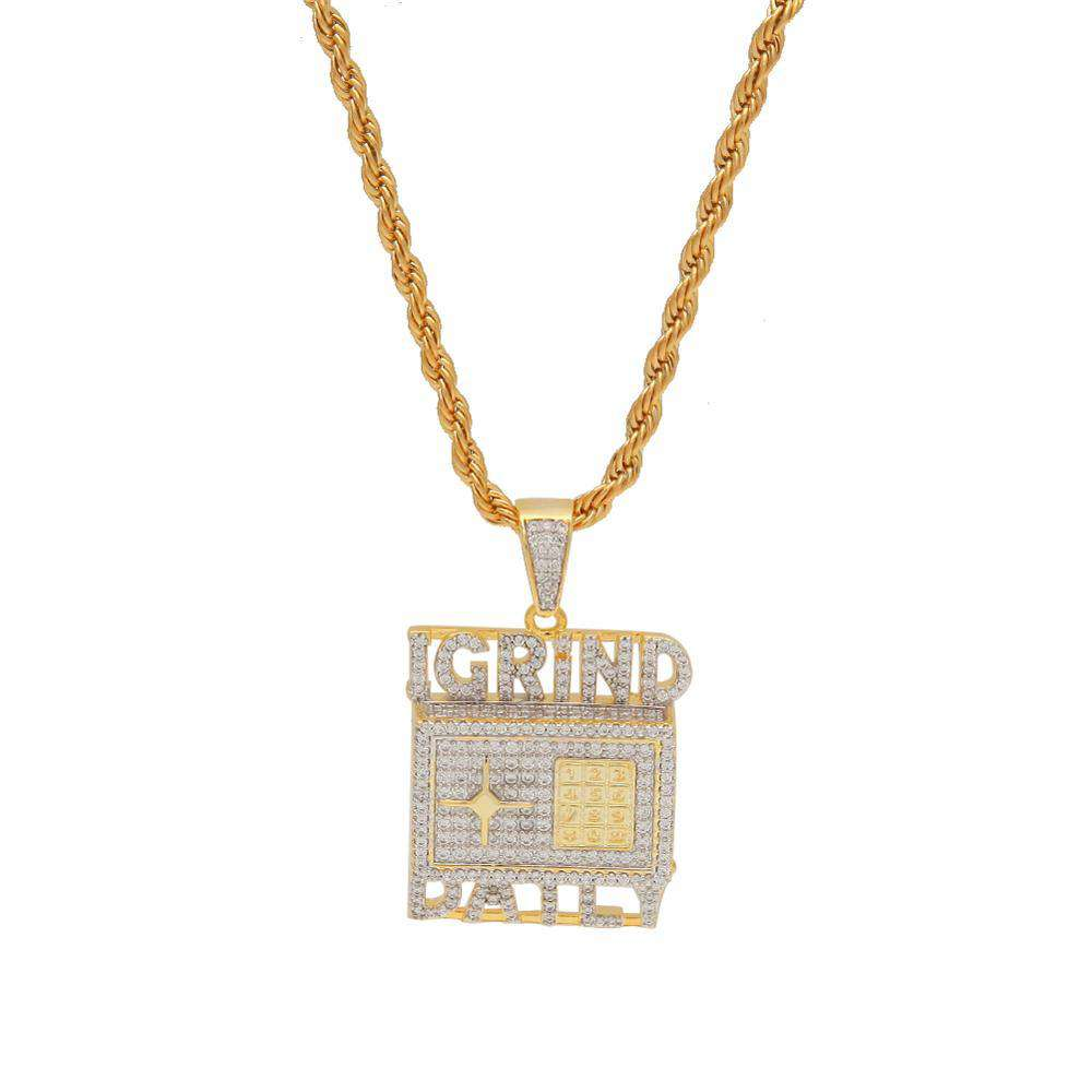 THE BLING KING Custom Safe Deposit Box Necklace Hip Hop Full Iced Out Cubic Zirconia gold sliver CZ Stone