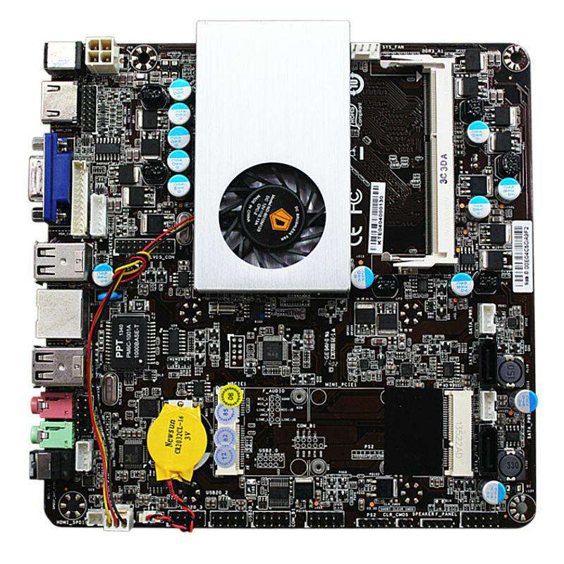 Ultra-thin Mini itx Motherboard Built in  CPU e350  HD6310 APU VGA RJ45 HDMI USB mSata Use 12-19V DC