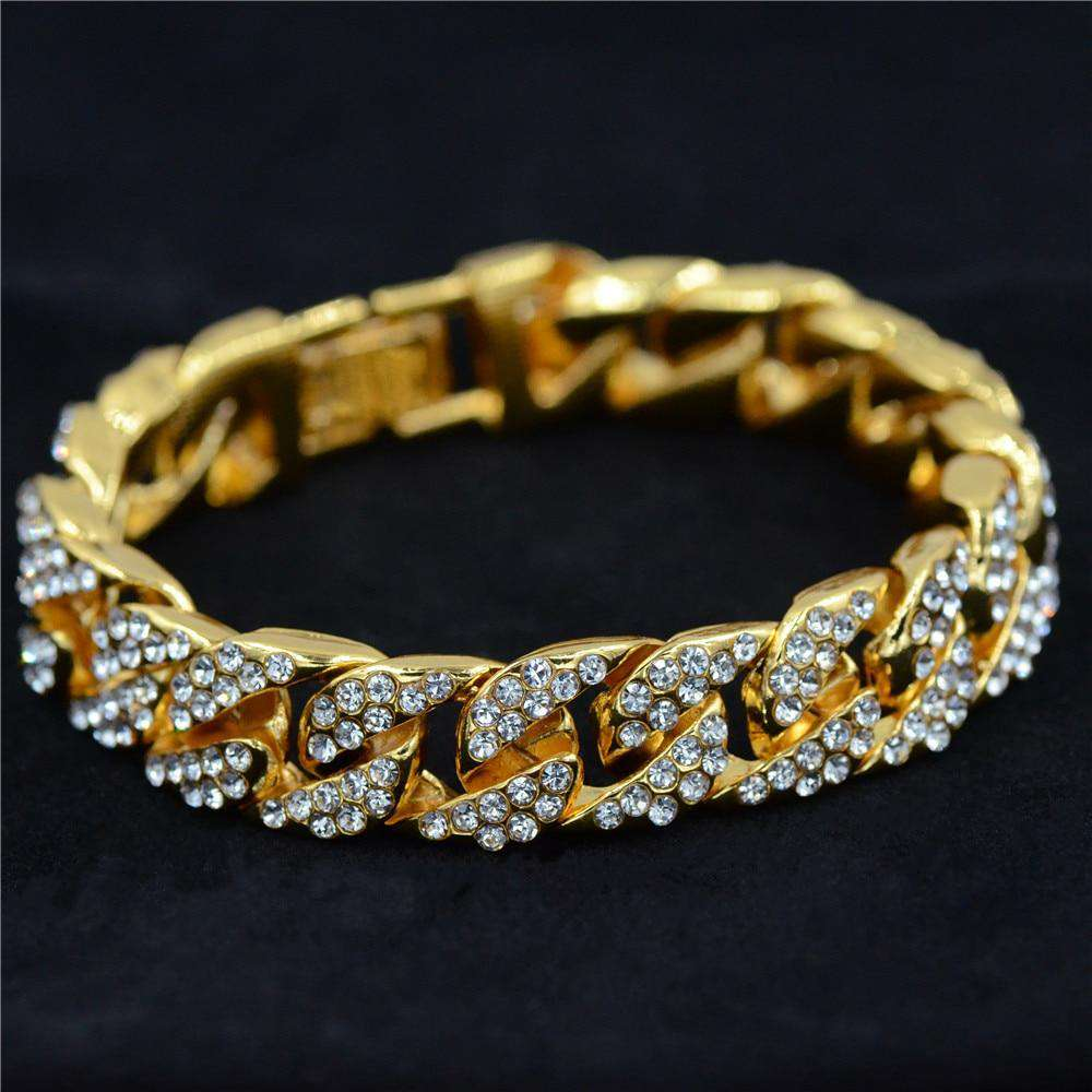 Uodesign 14mm Mens Bracelet for Women Hiphop Jewelry Iced Out Curb Cuban Chain Yellow Gold Filled Paved Rhinestones