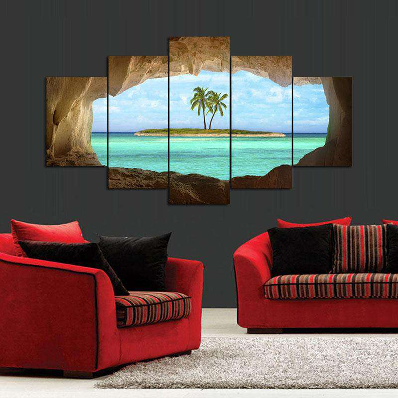 XXL hot sell sea Beach coconut tree cave Landscape Poster Canvas Print Group Painting Wall Art Home Decoration Poster Unframed