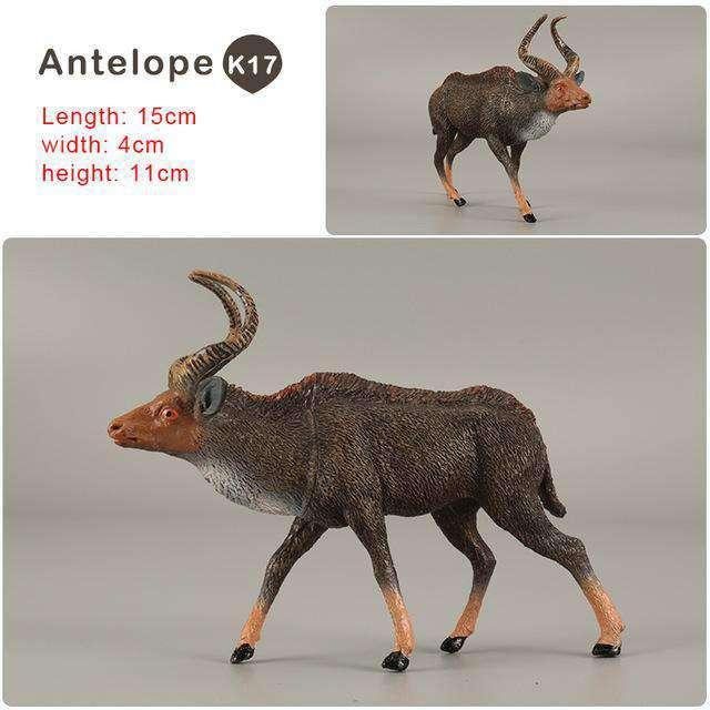 Zoo simulation animal models figures Bear Deer Tiger Leopard Lion Wolf Elephant Horses Cow statue Animation Figurine Plastic Toy, Antelope-K17, www.suppashoppa.co.uk