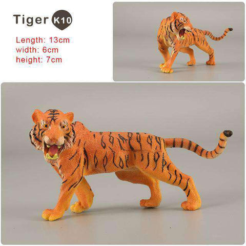 Zoo simulation animal models figures Bear Deer Tiger Leopard Lion Wolf Elephant Horses Cow statue Animation Figurine Plastic Toy, Tiger-K10, www.suppashoppa.co.uk