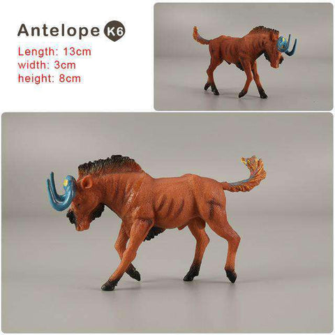 Zoo simulation animal models figures Bear Deer Tiger Leopard Lion Wolf Elephant Horses Cow statue Animation Figurine Plastic Toy, Antelope-K6, www.suppashoppa.co.uk