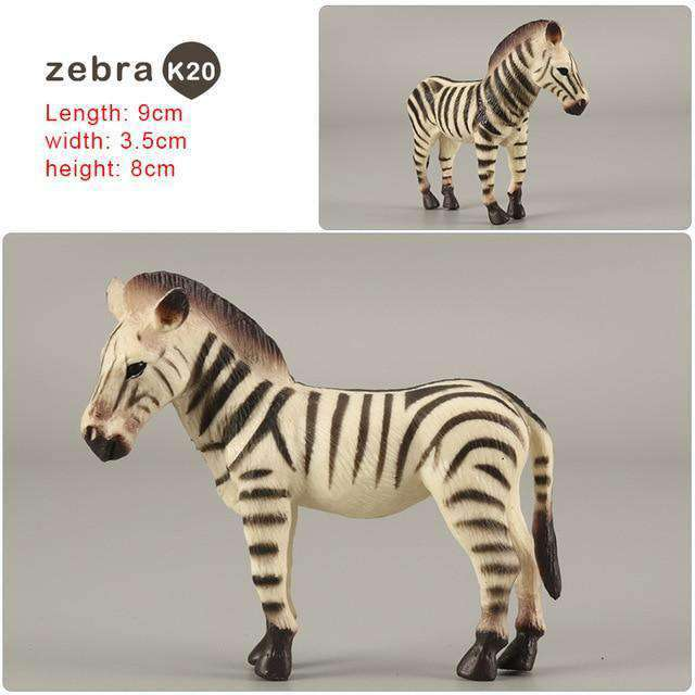 Zoo simulation animal models figures Bear Deer Tiger Leopard Lion Wolf Elephant Horses Cow statue Animation Figurine Plastic Toy, zebra-K20, www.suppashoppa.co.uk