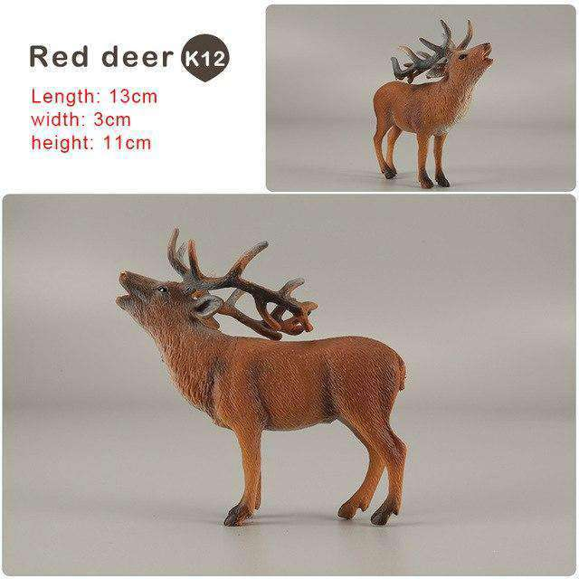 Zoo simulation animal models figures Bear Deer Tiger Leopard Lion Wolf Elephant Horses Cow statue Animation Figurine Plastic Toy, Red deer-K12, www.suppashoppa.co.uk