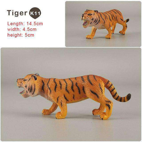 Zoo simulation animal models figures Bear Deer Tiger Leopard Lion Wolf Elephant Horses Cow statue Animation Figurine Plastic Toy, Tiger-K11, www.suppashoppa.co.uk