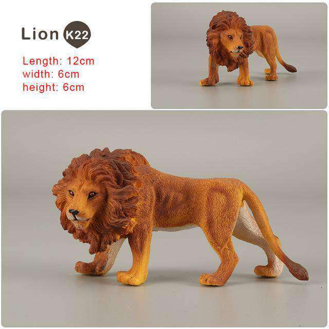 Zoo simulation animal models figures Bear Deer Tiger Leopard Lion Wolf Elephant Horses Cow statue Animation Figurine Plastic Toy, Lion-K22, www.suppashoppa.co.uk