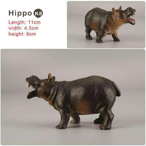 Zoo simulation animal models figures Bear Deer Tiger Leopard Lion Wolf Elephant Horses Cow statue Animation Figurine Plastic Toy, Hippo-K8, www.suppashoppa.co.uk