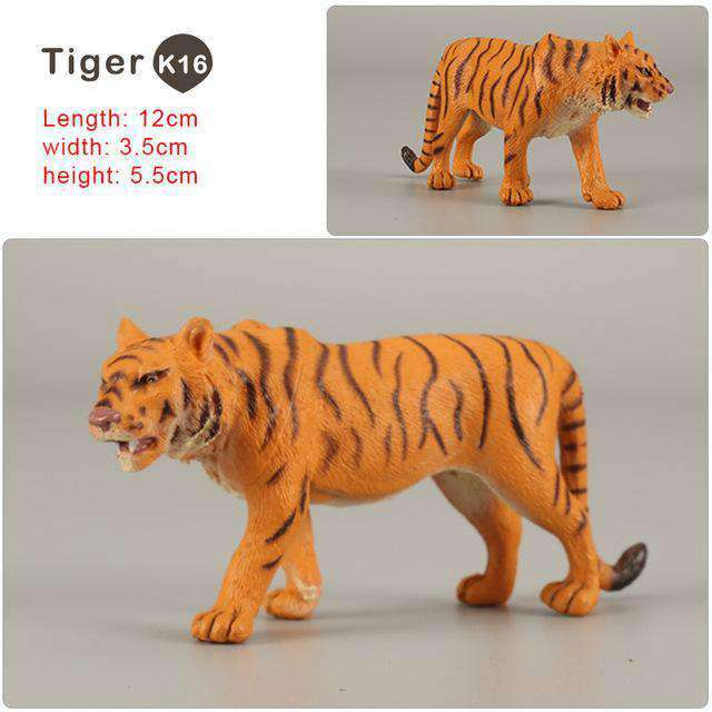Zoo simulation animal models figures Bear Deer Tiger Leopard Lion Wolf Elephant Horses Cow statue Animation Figurine Plastic Toy, Tiger-K16, www.suppashoppa.co.uk