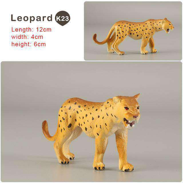 Zoo simulation animal models figures Bear Deer Tiger Leopard Lion Wolf Elephant Horses Cow statue Animation Figurine Plastic Toy, Leopard-K23, www.suppashoppa.co.uk