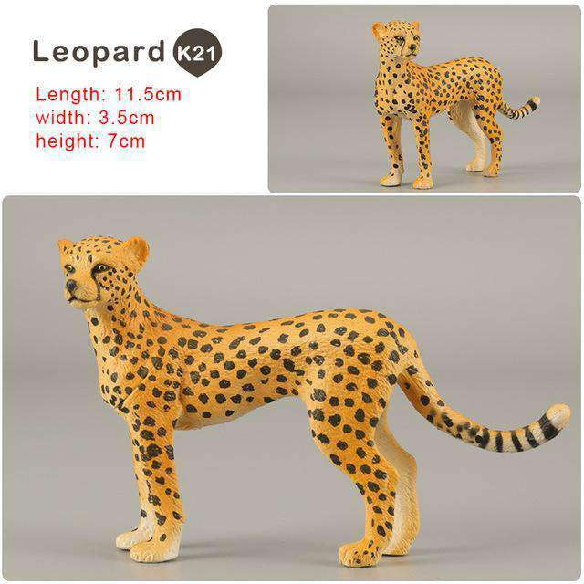 Zoo simulation animal models figures Bear Deer Tiger Leopard Lion Wolf Elephant Horses Cow statue Animation Figurine Plastic Toy, Leopard-K21, www.suppashoppa.co.uk