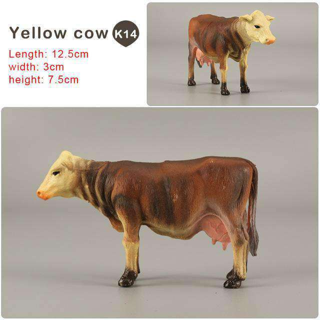 Zoo simulation animal models figures Bear Deer Tiger Leopard Lion Wolf Elephant Horses Cow statue Animation Figurine Plastic Toy, Yellow cow-K14, www.suppashoppa.co.uk