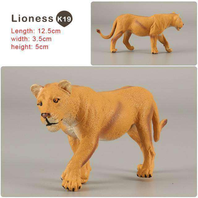 Zoo simulation animal models figures Bear Deer Tiger Leopard Lion Wolf Elephant Horses Cow statue Animation Figurine Plastic Toy, Lioness-K19, www.suppashoppa.co.uk