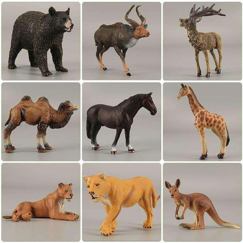 Zoo simulation animal models figures Bear Deer Tiger Leopard Lion Wolf Elephant Horses Cow statue Animation Figurine Plastic Toy, , www.suppashoppa.co.uk