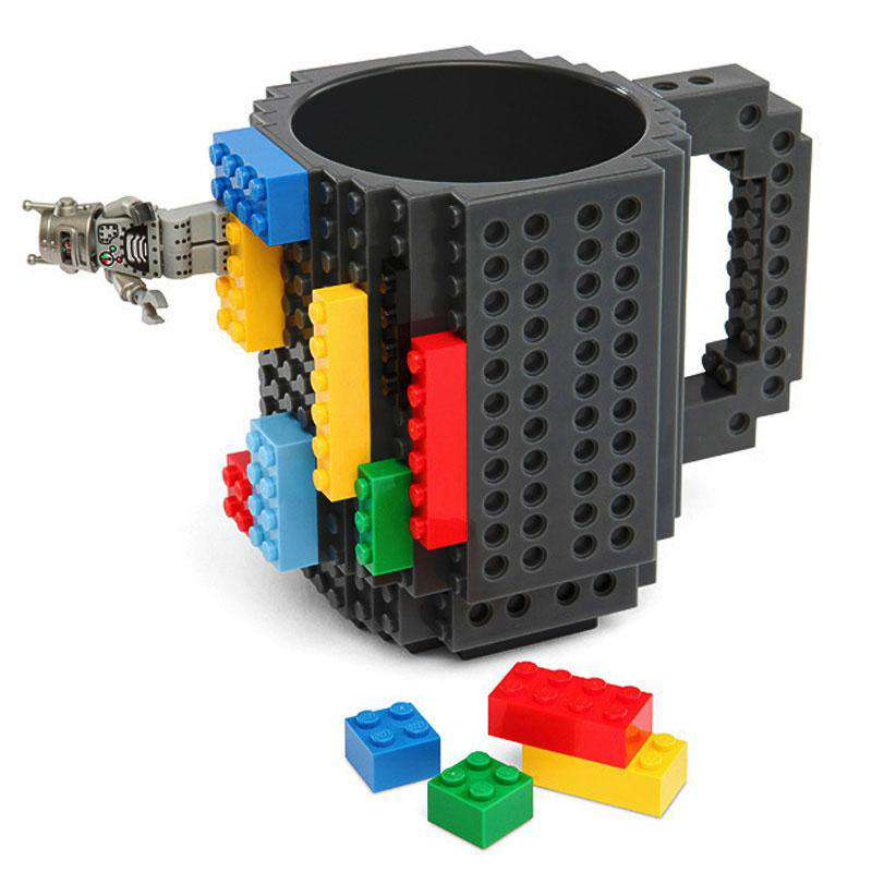 1 Piece Build a Brick Mug Building Blocks Coffee Cups Frozen Coffee Mug DIY Block Puzzle Lego Mug 12oz 350 ml Christmas Gift, Dark Gray, www.suppashoppa.co.uk