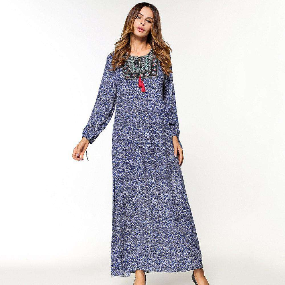 maxi dress women blue print O neck casual dress tassel long Sleeve Loose Middle East Islamic clothing long Dress 2018 hot sale, , www.suppashoppa.co.uk