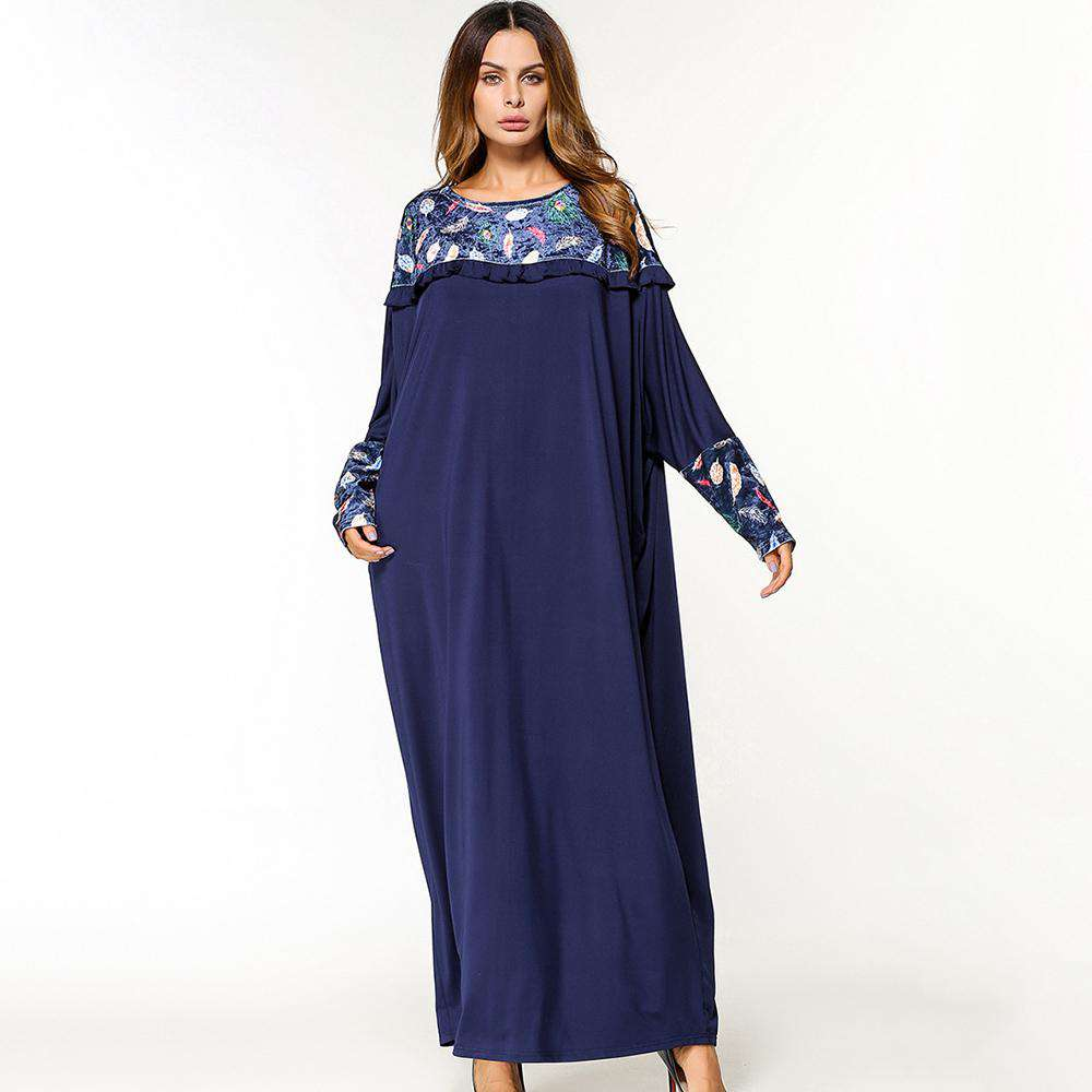 maxi dress women  leaves print O neck casual dress partchwork batwing Sleeve Loose Middle East Islamic long Dress 2018 hot sale, , www.suppashoppa.co.uk