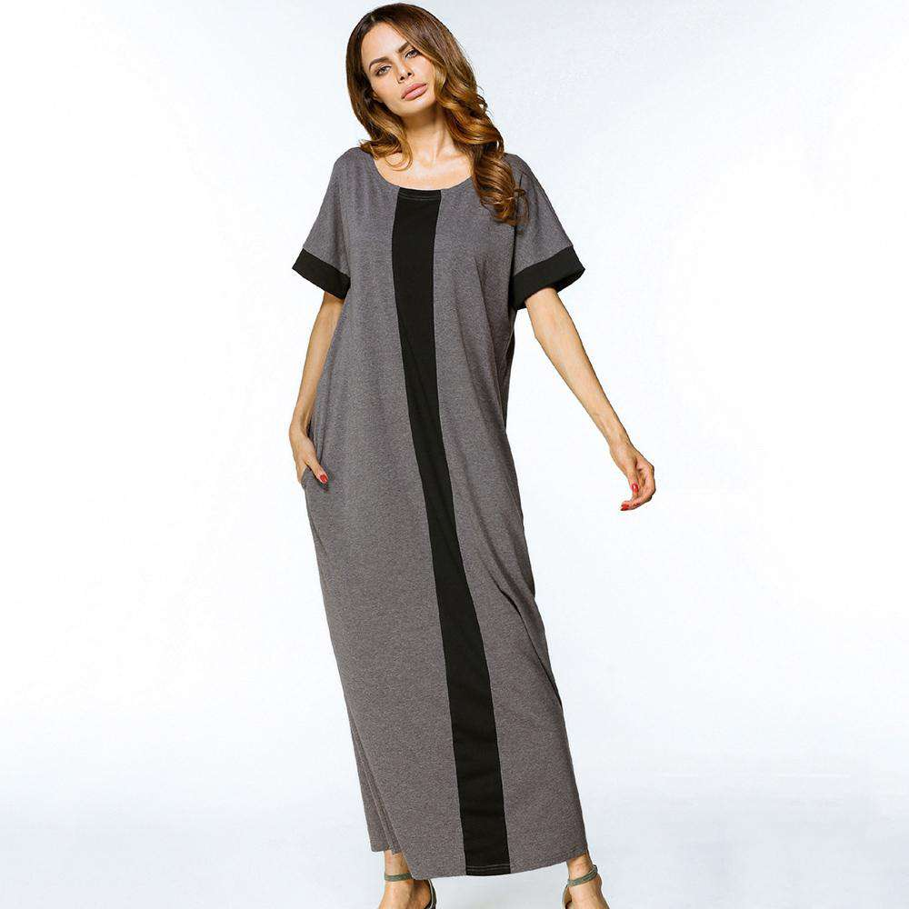 maxi dress women partchwork O neck casual 2018 fashion long Dresses grey short Sleeve Loose Middle East Islamic plus size dress, , www.suppashoppa.co.uk