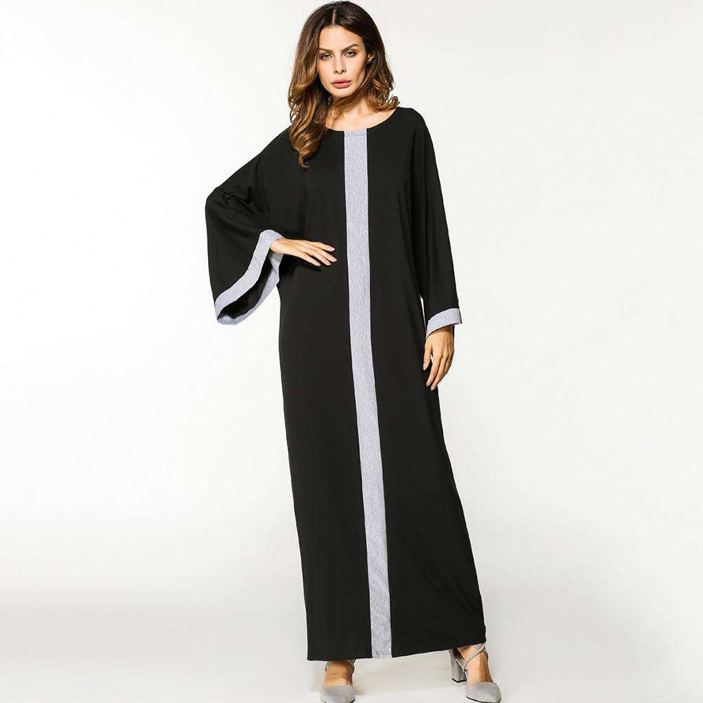 maxi dress women partchwork O neck casual plus size dress long Sleeve Loose Middle East Islamic long Dress 2018 spring hot sale, , www.suppashoppa.co.uk