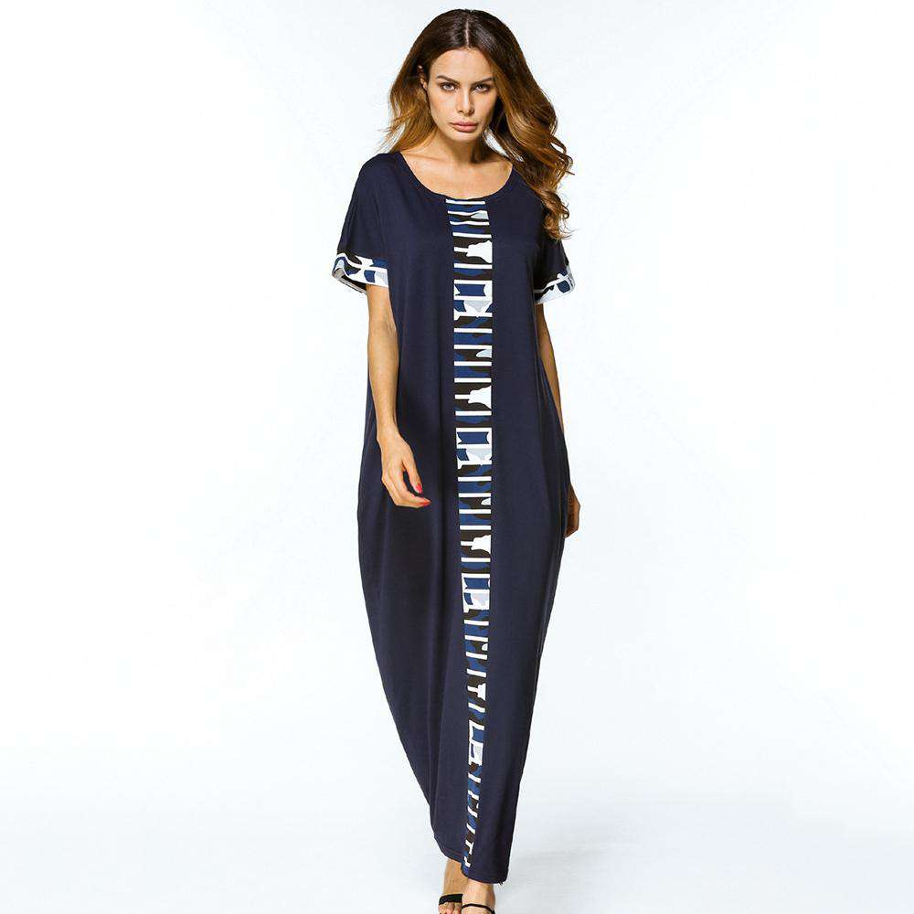 plus size dress women partchwork O neck casual long Dress blue short Sleeve Loose Middle East Islamic maxi dress 2018 spring, , www.suppashoppa.co.uk