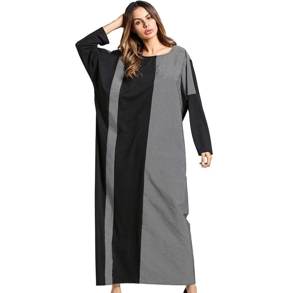 plus size dress women partchwork O neck casual long Dress  grey long Sleeve Loose Middle East Islamic maxi dress 2018 hot sale, , www.suppashoppa.co.uk