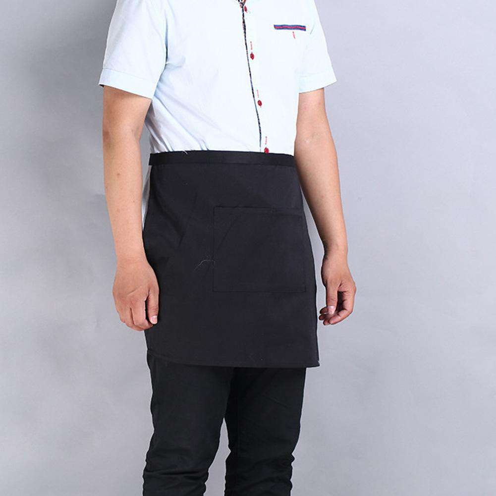Universal Unisex Kitchen Cooking Hotel Chef Aprons Chef Uniforms Waist Apron Short Apron Waiter Apron with Double Pockets, , www.suppashoppa.co.uk