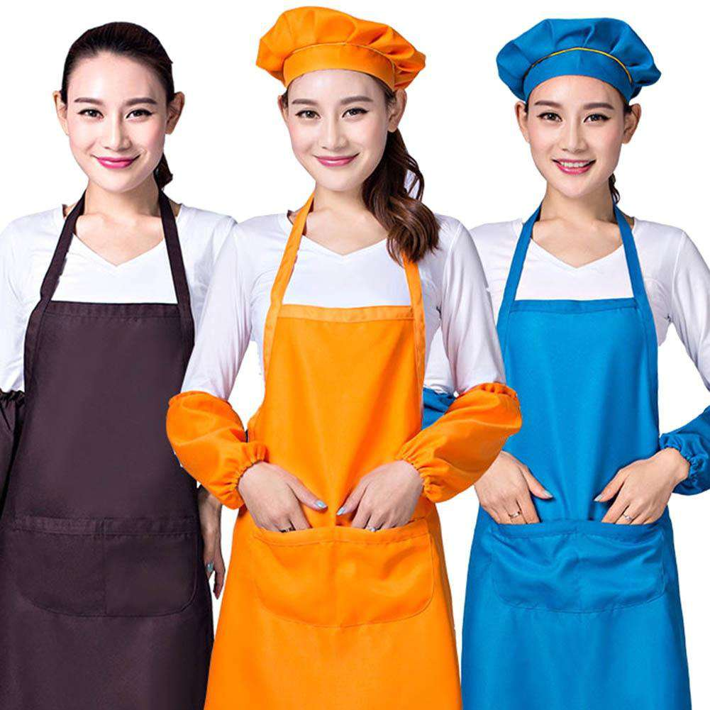 Universal  Bib Aprons Kitchen Cooking Hotel Chef Aprons Uniforms Waist Short Apron Waiter Apron with Double Pockets, , www.suppashoppa.co.uk