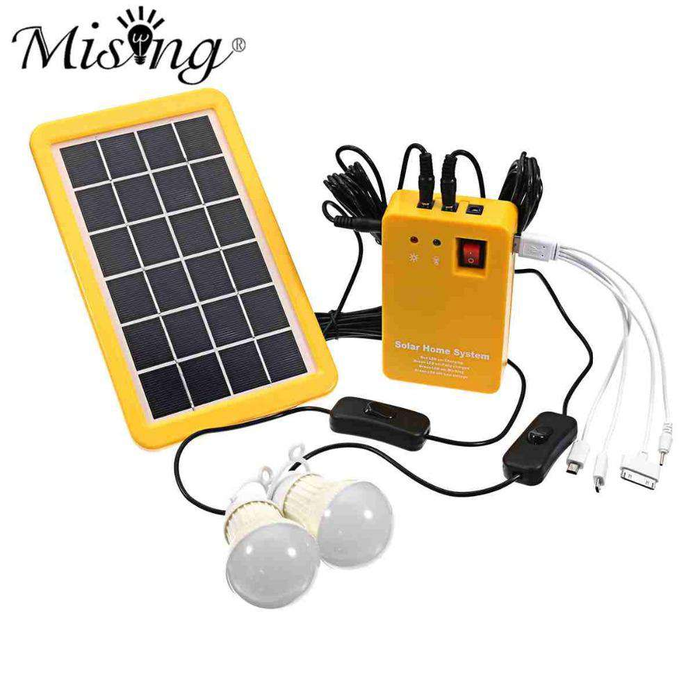 1 Set Solar Power Panel Generator LED Light Bulbs 5V USB Charger Home System Outdoor Garden Solar Lamps, , www.suppashoppa.co.uk