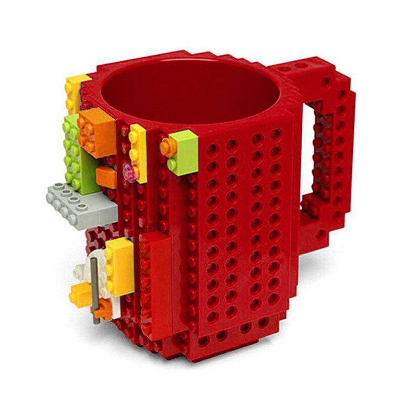 1 Piece Build a Brick Mug Building Blocks Coffee Cups Frozen Coffee Mug DIY Block Puzzle Lego Mug 12oz 350 ml Christmas Gift, Red, www.suppashoppa.co.uk