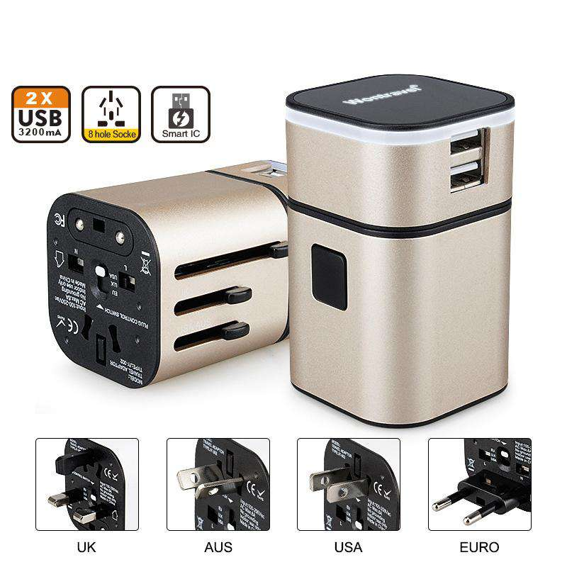 All in One Universal International Plug Adapter 2 USB with AU US UK EU Plug