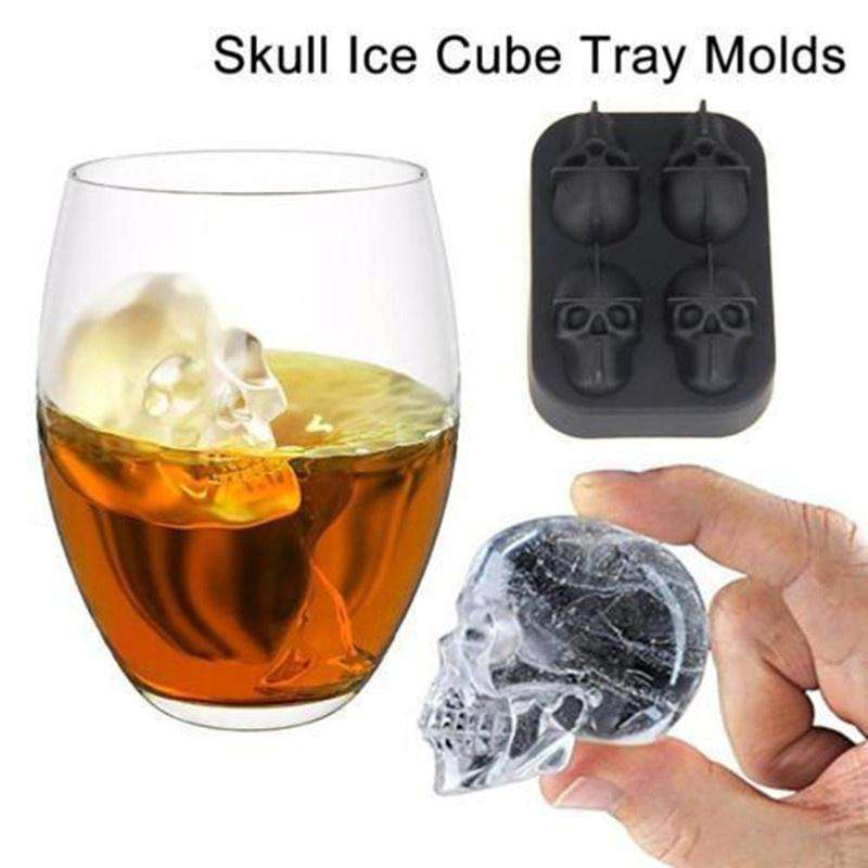 Halloween Party 3D Skull Flexible Silicone Ice Cube Mould Tray Makes Four Giant Skull, , www.suppashoppa.co.uk