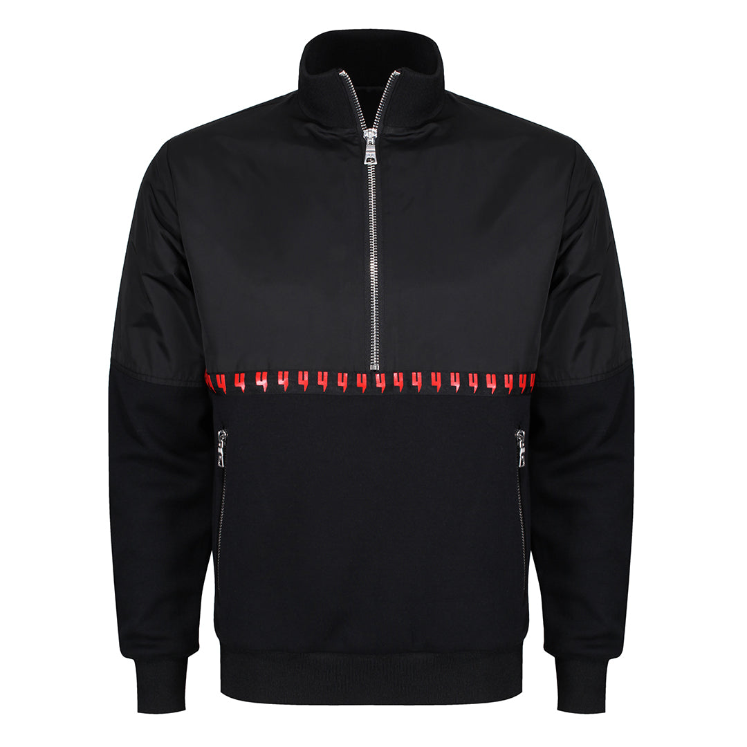 YELIR WORLD QUARTER ZIP PULL OVER BLACK/RED
