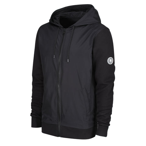 HYBRID ZIP-THROUGH HOODY BLACK