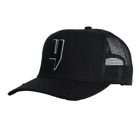 YELIR WORLD Y LOGO CAP BLACK WHITE OUTLINE